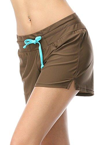 OUO Badeshorts Damen UV Schutz Schwimmen Bikinihose Wassersport Schwimmshorts Boardshorts kaffee