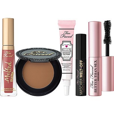 Too Faced Is My Life 5 pieces travel set/mascara/bronzer/Hangover primer/ lipstick/Mascara