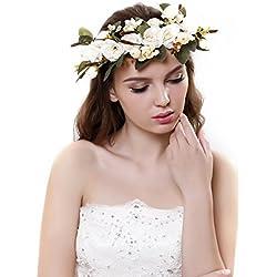 Cinta para el cabello Ever Fairy® de corona de flores, ajustable, para mujer o niñas beige Taille unique