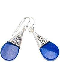 9964f4bc2dbe Plata de ley 925 Lapis Lazuli Único hecho a mano Aretes cm azul A4243