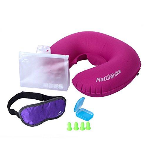 Outdoor Reise dreiteiliger Flugzeug Halsschutz U-Kissen, Schutzbrillen, Ohrhörer Anzug , purple (Patio-stuhl, - Box, - Kissen)