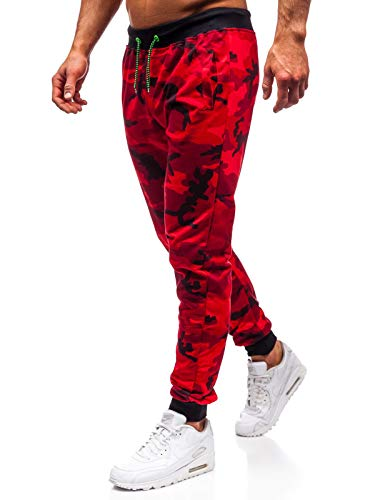 BOLF Herren Hose Jogger Sporthose Jogging Audruck Print Motiv Army Camo Military Sport Style J.Style MK19 Rot L [6F6] Army Military Pants