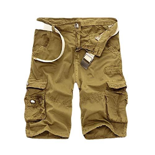CuteRose Men Plus-Size Shorts Rugged Wear Baggy Camo Multi-Pockets Cargo Pants Khaki 31 Old Navy Capri-jeans