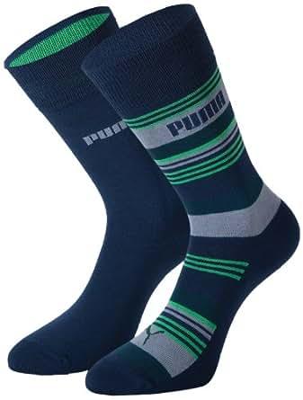 Puma Lot de 2 paires de chaussettes lignées pour homme Bleu Bleu UK 6-8
