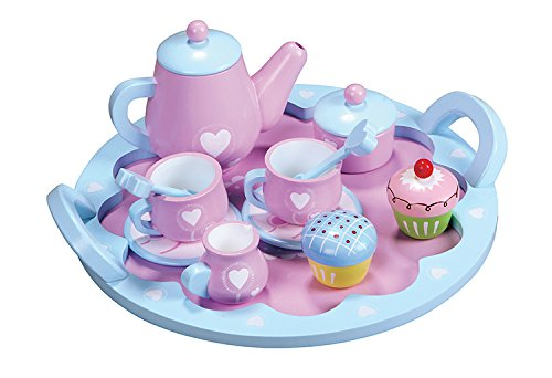 Lelin Teeservice Holz Kinder Kaffeeservice Spielküche Kinderküche Geschirr Spielset