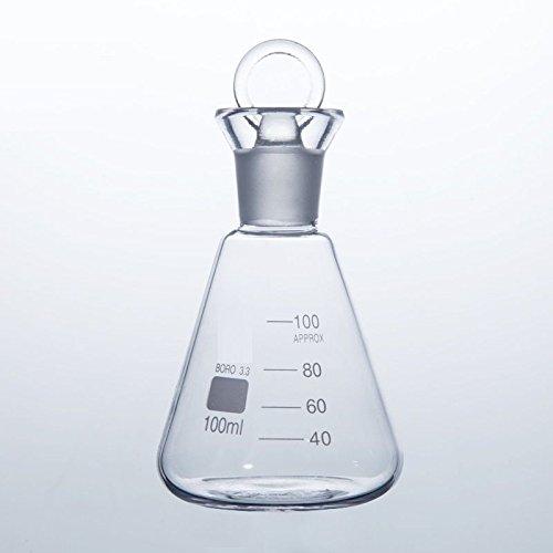 Rocwing Boro 3.3 Graduated konische Glas Flasche mit Stopper 100 ml (Glas-flasche Stopper)
