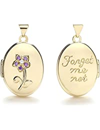 JQS - 9ct Yellow Gold Oval Double Sided 'Forget Me Not' Flower Locket With Purple Cz's