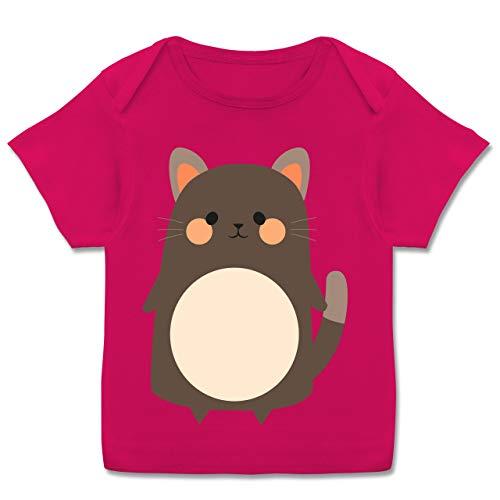 Karneval und Fasching Baby - Fasching Kostüm Katze - 68-74 (9 Monate) - Fuchsia - E110B - Kurzarm Baby-Shirt für Jungen und Mädchen (Tron Kostüm Mädchen)