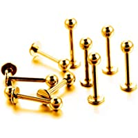 """Gadgetsden 16 G 3/8"""" Gold 316 L Surgical Stainless Steel Labret Lip Piercing Ring Ball Stud for Men and Women-10 Pieces…"""