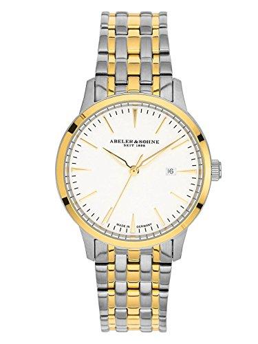 Abeler & Söhne fabricado en Alemania–Reloj de pulsera para mujer con correa de acero inoxidable, cristal de zafiro y fecha as3022m