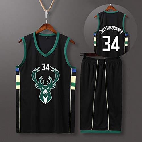 YDYL-LI Giannis Antetokounmpo # 34 Milwaukee Bucks All-Star-Jersey-Basketballanzug Ärmelloser, Atmungsaktiver T-Shirt-Trainingsanzug (Oberteile + Shorts),M