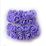 Generic 144 Pcs/lot Dia 2 cm Artificial Foam Roses For Home And Wedding Decoration Flower Heads Kissing Balls For Weddings Multi Color pueple