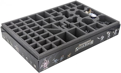 ATEZ060BO 60 mm (2.36 inches) foam tray with 52 compartments for the Warhammer Quest - Silver Tower board game box