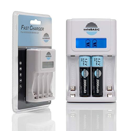 solidBASIC Akku Ladegerät für 4 x NI-MH Mignon AA Akkus/Micro AAA Batterien Schnellladegerät Fast Charger mit LED Display - weiß