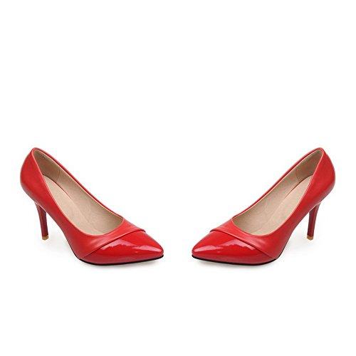 Adee Damen spikes-stilettos Patent Leder Pumpen Schuhe Rot