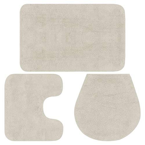 Vidaxl 133224 - tappetino da bagno, 3 pezzi tappetino da bagno bianco per copriwater, set da bagno, tessuto, dimensioni 50 x 78 cm (larghezza x lunghezza)