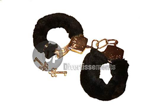 Handschellen mit Plüsch, schwarz, mit Schlüssel 0011