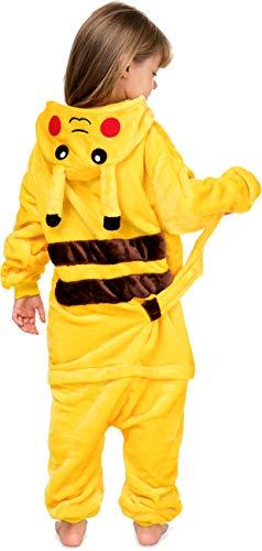 Pokemon Kinder Kostüm - Worldstyle Kigurumi Kinder Fleece Einteiler Pyjama Kapuze Pikachu Pokemon Gr. S