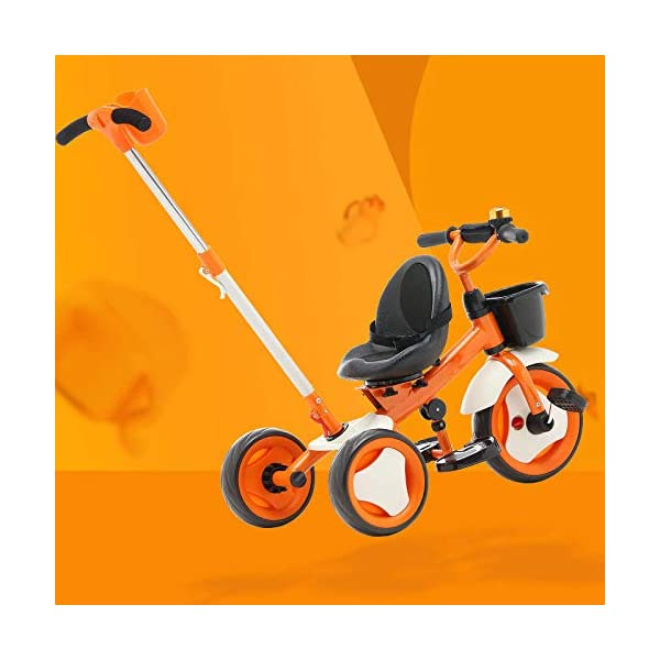 3 In 1 Kids' Trikes 18 Months To 6 Years 360° Swivelling Saddle Seat Can Be Adjusted Back Kids Tricycle Detachable And Adjustable Push Handle 3 Wheel Baby Bike Maximum Weight 25 Kg,Orange BGHKFF ★Material: High carbon steel frame, sturdy, lightweight, durable; suitable for children aged 1.5-6, maximum weight 25 kg ★ 3-in-1 multi-function: convertible into a trolley and a pedal tricycle. Remove the hand putter as a tricycle. ★Safety design: golden triangle structure, safe and stable; front wheel clutch, will not hit the baby's foot; 2 point seat belt 1