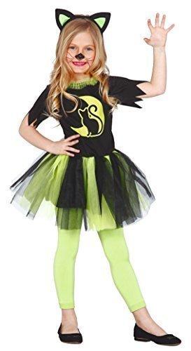 Mädchen-grün Kätzchen für Katzen Halloween Tutu Hexe Kostüm Kleid Outfit 3-12 Jahre - Grün, 3-4 Years