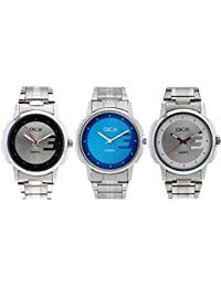 Dice 3 Watches Combo Pack Consist Of 3 Wrist Watches For Men Multi Color Dials, Stainless Steel Case Chain
