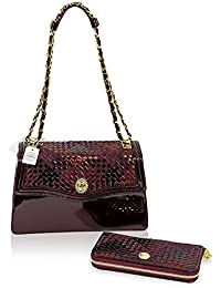 fbface293b Valentino Orlandi Italian Designer Marsala Red Woven Intrecciato Leather Bag    Wallet Set
