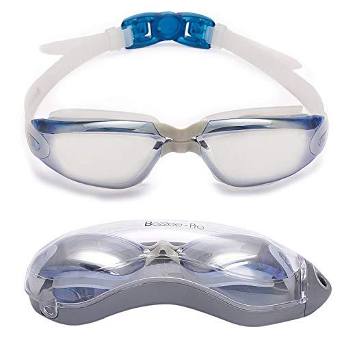 Bezzee Pro gespiegelte Gläser Schwimmbrille - Antibeschlagbeschichtung - Wasserdicht - Anpassbar - Schwimmbrille für Erwachsene 180 ° Weitwinkel Sicht - Für Männer Frauen Jugendliche +10 - Beinhaltet ein Schutzetui