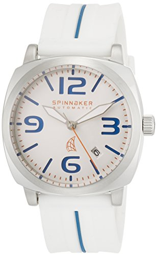 Spinnaker Hull Men's Automatic Watch with Silver White Dial Display on White Silicon Strap SP-5020-01