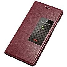 AddGuan Huawei P9 Funda,Piel Genuina Delgado Caso Tirón ,Elegante Ventana vista , PC Material inferior cáscara Para Huawei P9 - Rojo