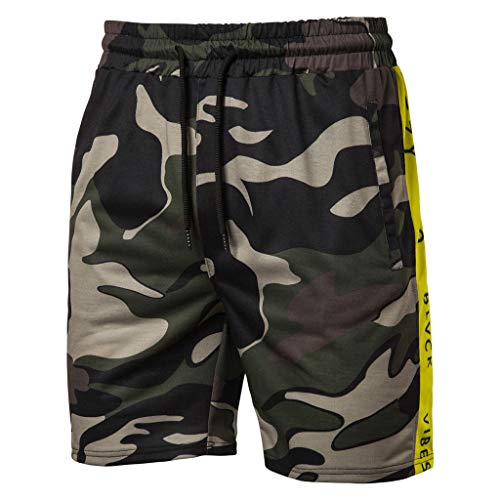 TIMEMEAN Shorts Herren Camouflage Baumwolle Pleated Multi-Pocket Overall Drawstring Kurze Hose -