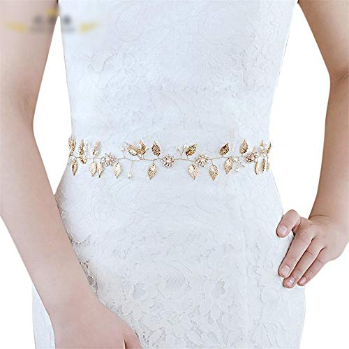 Matilda530 Damen Gürtel Braut-Accessoires Perlen-Legierungs-Blatt-Kleid Zubehör Bauchkette (Farbe : Grau)