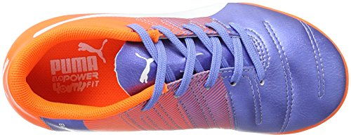 Puma Evopower 4.3 It Jr, Chaussures de Football Compétition Mixte Enfant, Mehrfarbig (Blue Yonder-Puma White-Shocking Orange 03) Multicolore - Mehrfarbig (Blue Yonder-puma White-SHOCKING Orange 03)