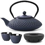 Bredemeijer Teekanne asiatisch Gusseisen Set blau 1,25 Liter mit Tee-Filter-Sieb und Stövchen inkl. Teebecher - Serie Xilin