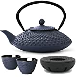 Bredemeijer ferro teiera asiatica, Set Blu 1,25litri con filtro da tè di maglie e stoevchen, Tè Tazza-Serie xilin