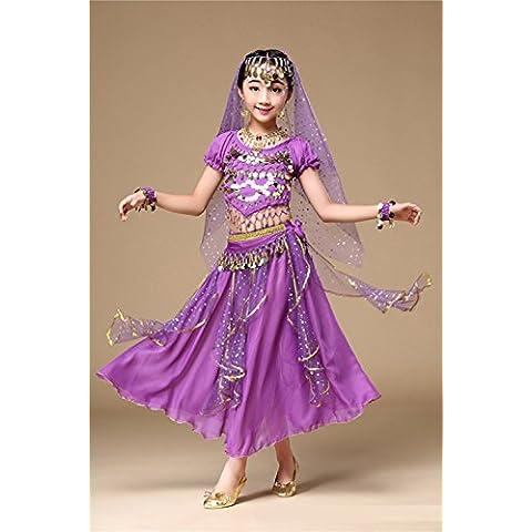 ZYQYJGF Chica Varios Colores Danza Del Vientre Ropa Conjuntos Carnaval Baile Vestido Niños Rendimiento Brillante India . 1 .