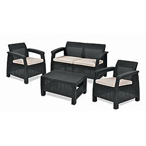 Keter Corfu 2 Seater Rattan Sofa Outdoor Garden Furniture - Graphite with Cream Cushions