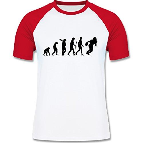 Evolution - Football Evolution - zweifarbiges Baseballshirt für Männer Weiß/Rot