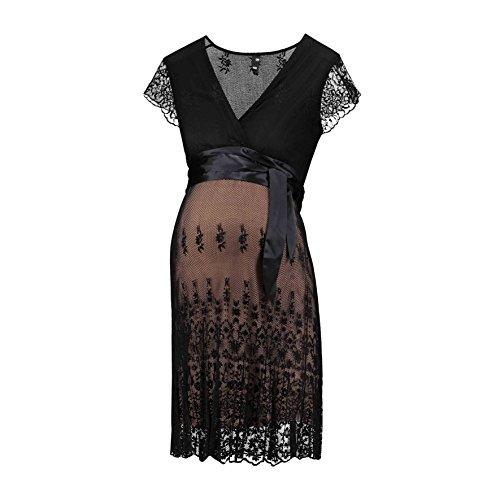 Love2Wait Umstandskleid Umstandsmode Schwangerschaftskleid Damen Kleid Dress Schwarz (Black)