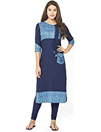 Aysis Women's Cotton Straight Maternity/Nursing/Easy Feeding/Breastfeeding/Kurti/Kurta/Dress/with Zippers for PRE and Post Pregnancy-Elina3108-M Size