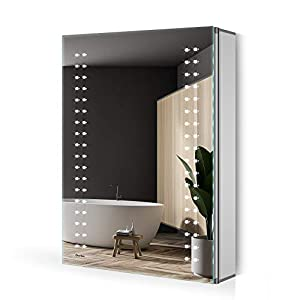 Quavikey 500 x 700mm LED Illuminated Bathroom Mirror Cabinet Aluminum IP44 Bathroom Cabinet With Shaver Socket Demister Pad For Makeup Cosmetic