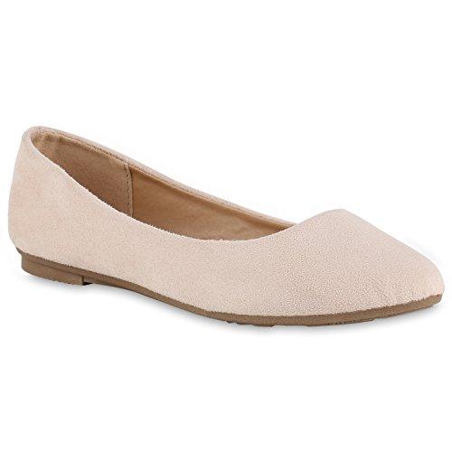 Damen Ballerinas Lack Slipper Flats Schuhe Lederoptik Creme Velours Bernice