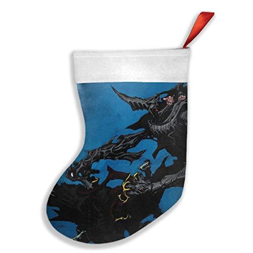 Voxpkrs Demon Christmas Krampus Blue Weihnachtsfeiertags-Strumpf-Weihnachtssocken für Familienfest-Dekorations-Geschenk