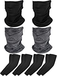 8 Pack Ear Hanging Neck Gaiter Face Cover Summer UV Protection Bandana Balaclava Head Wrap Scarf with Ice Silk
