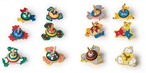 Kreisel mit unterschiedlichen Motiven im 12er Set, aus bunt lackiertem Holz, tolles Gastgeschenk an Kindergeburtstagen