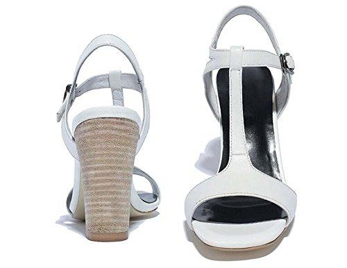 Beauqueen Open-Toe Pumps casual in pelle lavoro sandali T-Strap Sandali grosso tacco basso semplice ed elegante Europa formato 34-39 Black