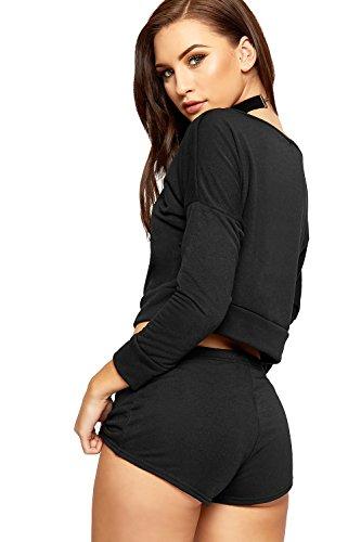 WEARALL Femmes Bouffant Récolte Haut Short Fixé Dames Chaud Pantalon De Épaule Co-Ord Double Costume - 36-42 Noir