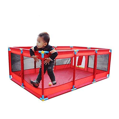 WYQ Laufgitter Ställe Safety Play Yard Set Rot (Babylaufstall, Spielmatte, 200 Plastikkugel, 4 Gummifüße) Laufstall für Babys und Kinder -128 × 128x66 cm, 190 × 128x66 cm