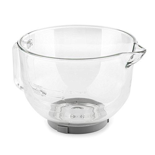 Klarstein Bella Glass Bowl - Glasschüssel, Rührschüssel, Zubehör für Bella 2G Küchenmaschinen, 2.5 Liter, bruchresistent, eingeprägte Skalen in Litern und Millilitern, 24 x 17 x 30 cm (BxHxT)