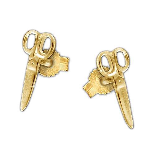 CLEVER SCHMUCK Goldene Ohrstecker kleine Schere 9 mm glänzend 333 GOLD 8 KARAT für Damen, Frisöre, Schneider... Rasierer Golden
