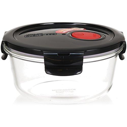 LOCK & LOCK Frischhaltedose aus Glas mikrowellengeeignet - Oven Glass - Für Backofen, Mikrowelle & zum Einfrieren - Mikrowellengeschirr rund mit Deckel, 650 ml